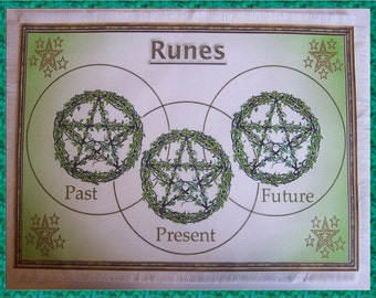 Ivy Pentcle Rune Casting Mat, Dowsing wiccan Magic Divination, Stones, gift