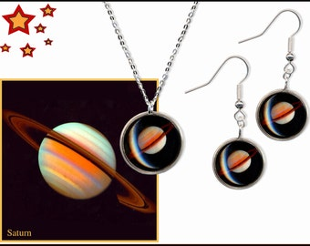 Saturn pendant and earrings on sterling silver chain and wires with high quality photo gift card