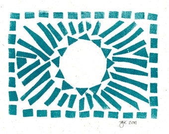 "Sun Linocut Print on 5""x7"" Blank Card with Envelope/Green"