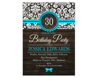 30th Birthday Invitation / 40th 50th 60th 70th 80th 90th / Rustic / Blue / Wood Grain / Digital Printable Invitation / Customized