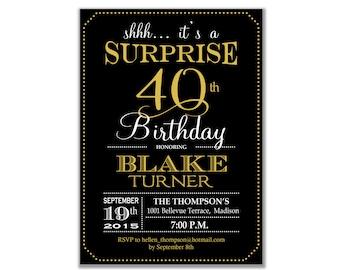 Surprise 40th Birthday Invitation / Any Age / Black Gold White / Digital Printable Invitation