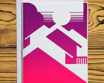 LETTERPRESS NOTECARD: Pink/Purple House