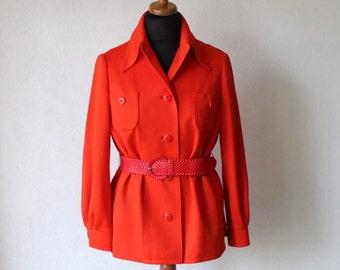 Vintage Red Orange Womens Belted Blazer Jacket Ladies Size Medium