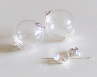 Glass globe hollow Pearl with 2 holes blank