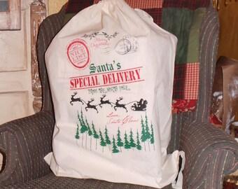 34in x 24in Huge Santa Christmas Sack. Christmas Stocking. Santa Sack. Merry Christmas.