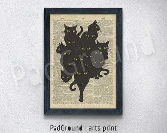 Black Cat Art Print, Wall Decor, Dictionary Art Poster, Cat illustration, Burlap Print, Wall Hanging, Gift, Linen Print Frame - CT16