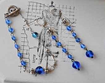 Earrings/Blue/Silvertone/Glass Beads/Recycled/Rosary/Assemblage/Crystal/Religious