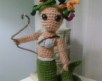 Mythological creature Medusa crochet figurine
