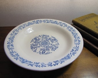 Vintage Oxford China Wide Rim Flat Bowl - Blue and White Floral Pattern