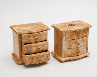 Small chest of drawers for jewelry box from karelian birch