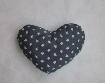 Small sized, soft heart cushion - blue and grey