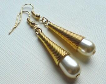 Art Deco Gold Wrapped Pearl Teardrop Earrings , Teardrop Pearls , Glass Pearl Earrings , Gold Earrings , Handmade Jewelry , Boho Gift