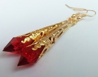 Red Gold Earrings , Red Teardrop Earrings , Gold Filigree Earrings , Red Earrings , Gold Teardrop Earrings , Handmade Jewelry , Gift