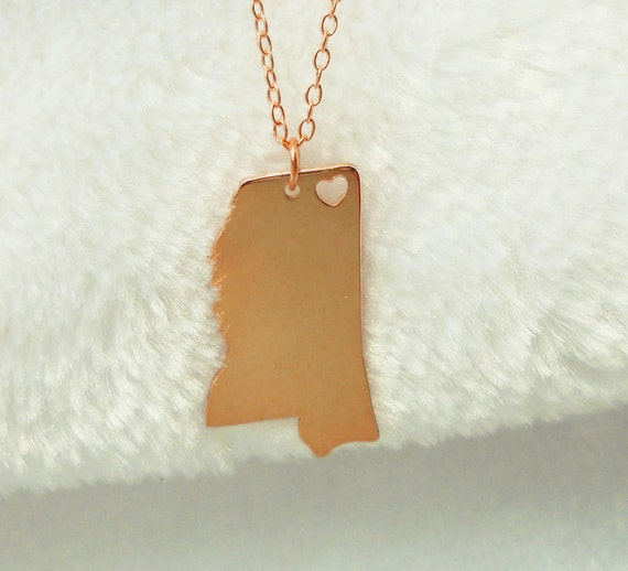 gold mississippi state necklacems state shaped necklace