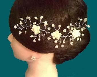 White and Ivory Rose Hair Vine
