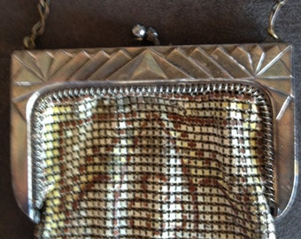 Whiting And Davis Art Deco 1920's Enamel Mesh Purse