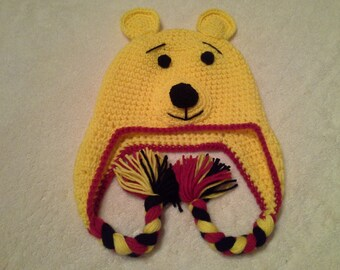 """Hand Crocheted & Decorated Acrylic Child Hat. """"Winnie the Pooh with Braids"""" Pattern"""