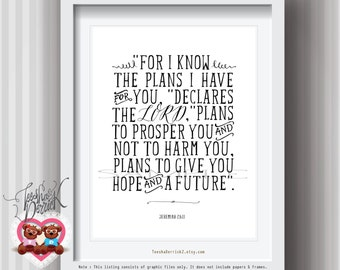 Nursery Bible Verse art print, Christian wall art decor Jeremiah 29:11, Printable scripture, for I know the plan, Instant Download (c191)