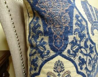 "SALE 35.00 - 20"" Designer Navy Geometric Medallion Pillow Cover - Navy Tan Pattern Couch Pillow - Modern Pillow - 11104"