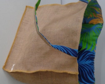Eco Shopping Bag - Reversible Hessian and Blue, Green & Orange Leafy Poly/Cotton Tote Bag
