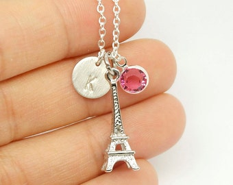 Silver Eiffel Charm Necklace, Paris Eiffel Tower Necklace, Personalized Initial Necklace, gift for Mom, Grandma, little gift, Paris,