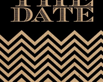 Chevron Kraft Double Sided Save The Date DIGITAL FILE ONLY