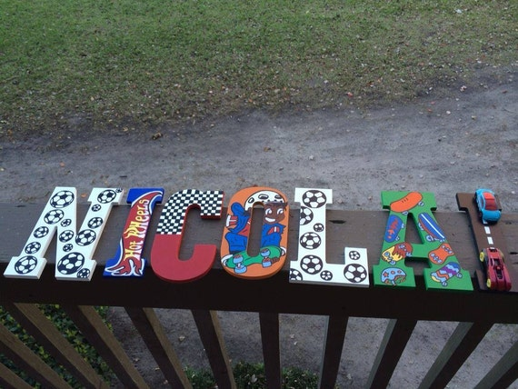 Boys Monogram Wall Letter, Boys Wall Decor,Wall Decor,Cute Monogram Letters,Sports Monogram Letters,Skateboard Monogram Letters,Boys Room