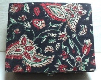 Block Printed Box, Vintage Fabric Covered Box, India, Indian Block Print, Handmade Box, Vintage Box, Trinkets Box, Jewelry Box,  Box,