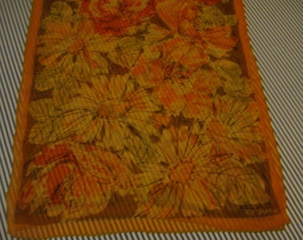 Vintage Vera 100% Silk Scarf Oblong 15 x 40 Inches Sheer Salmon Beige Peach Black 613