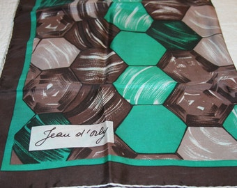 Jean D'orly Silk Scarf Green Brown Hand Rolled 28 x28 Inches 623