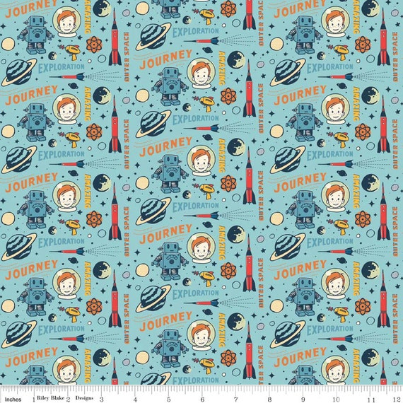 Vintage rocket space age fabric in blue by october afternoon for Rocket fabric