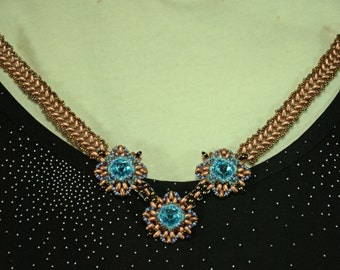 OOAK Beaded Aquamarine and copper necklace