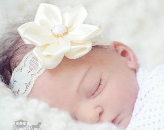 Ivory Christening Headband - Baby Headband - Baptism Headband - Fabric Flower - Girls Headband - Baby Girl Headband - Newborn Headband Lace