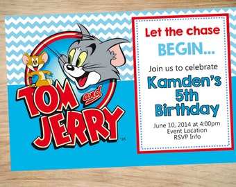 Tom and jerry invite | Etsy