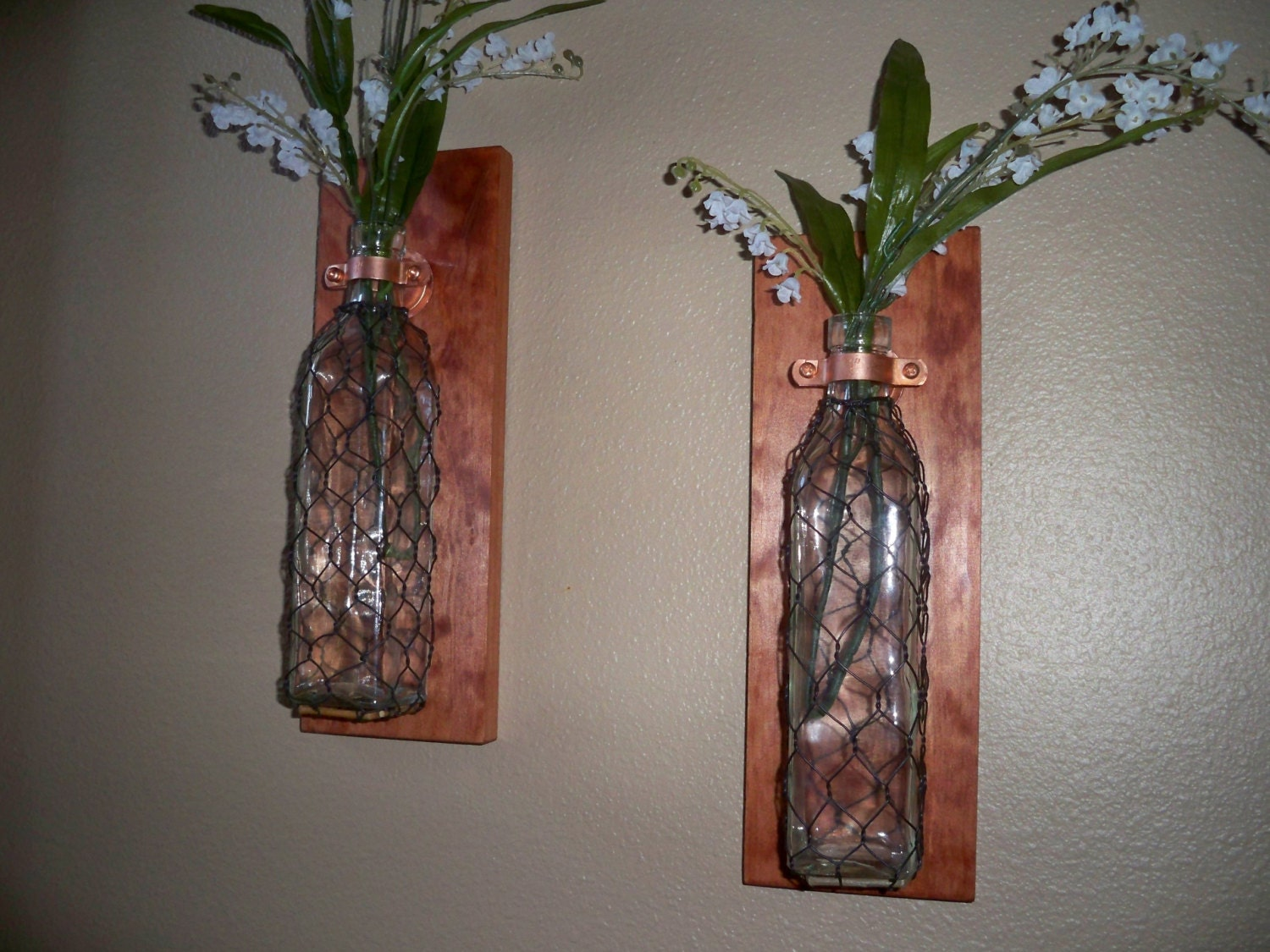 Rustic bathroom decor chicken wire primitive home decor vase for Bathroom decor vases