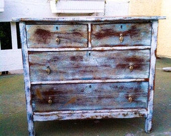 sold shabby chic dresser distressed white over shades of blue w gold undertones