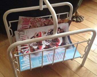 Magazine/Newspaper Rack in the Mid Century Modern Style ~ Shabby Chic Re Purposed Magazine Holder ~ Up Cycled Home Decor ~ Chalk Paint