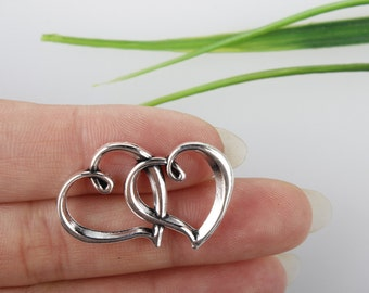 Own Charm~ Antique Silver Double Heart Charms 20x32mm