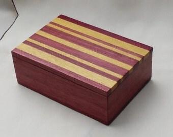 Gorgeous Purpleheart and Canarywood Keepsake or Jewelry Box