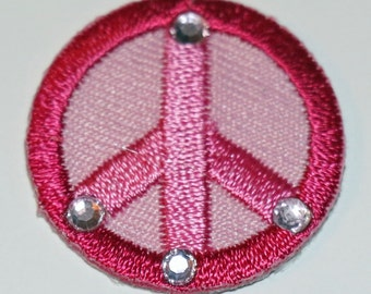Small pink peace sign patch with crystals with heat fix