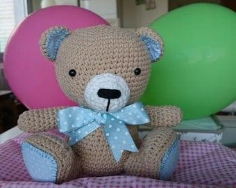 precious Teddy bear with Blue Ribbon amigurumi