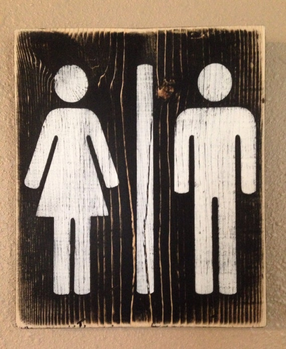 Items Similar To Ladies Gentlemen Joint Restroom Wood Sign Bathroom Decor On Etsy