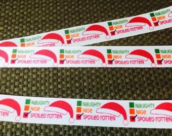 Naughty and Nice Ribbon, Naughty, Nice and Spoiled Rotten Ribbon, Christmas Ribbon