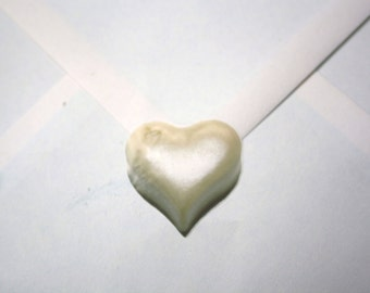 White Heart Wedding Stickers - envelope seals - realistic 3D effect (064)