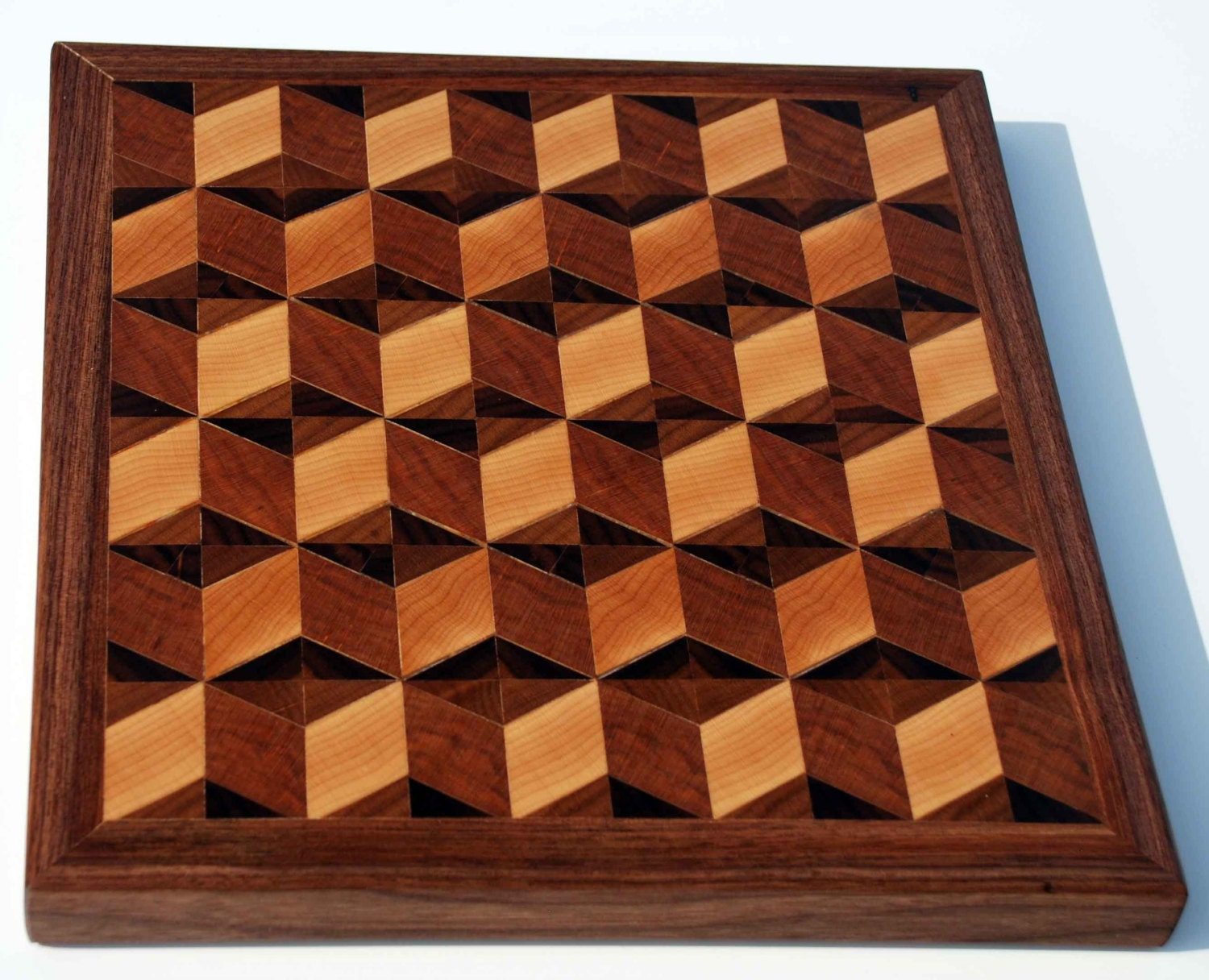 Falcate Block Board ~ D parquetry end grain butcher block cutting by finefinishetsy