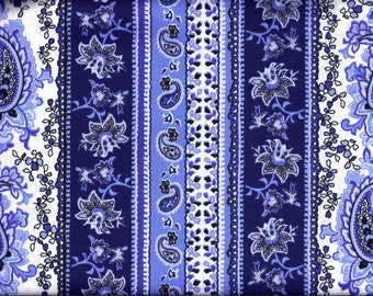 Blue and White Paisley Stripe Curtain Valance