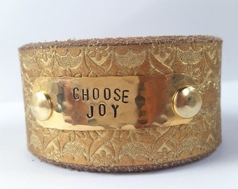 Gold Choose Joy stamped Leather Cuff belt bracelet