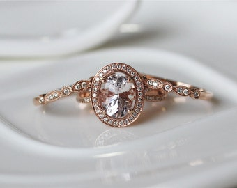 3PCS Morganite Ring Set--7x9mm Pink Morganite 14K Rose Gold Diamond Ring/ Wedding Ring/ Engagement Ring/ Anniversary Ring/ Gemstone Jewelry