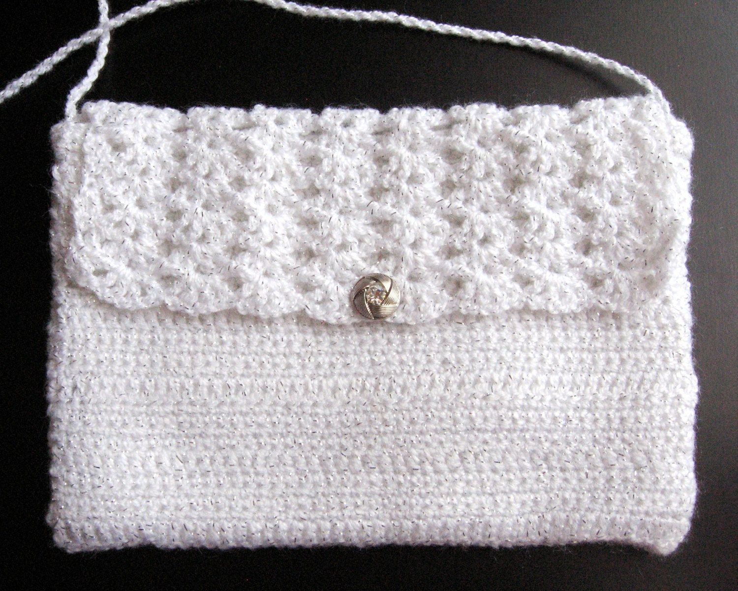 Crocheted White Evening Bag With Rhinestone Button Satin