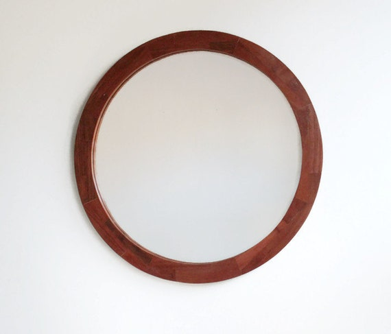 Wall mirror 17 round wooden mirror handmade reclaimed for Round wood mirror